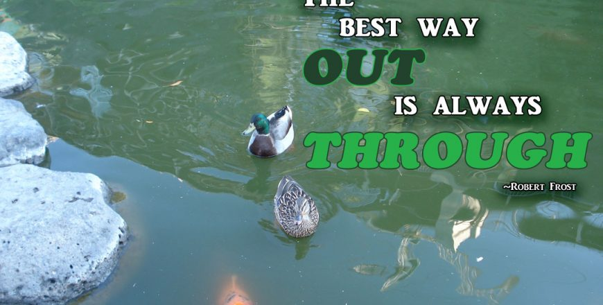 The Best Way Out Is Always Through – Robert Frost